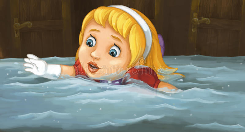 Cartoon scene with girl swimming in the room full of water. Happy and funny traditional illustration for children - scene for different usage stock illustration