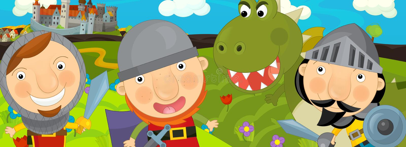 Cartoon scene - green dragon and the knights vector illustration