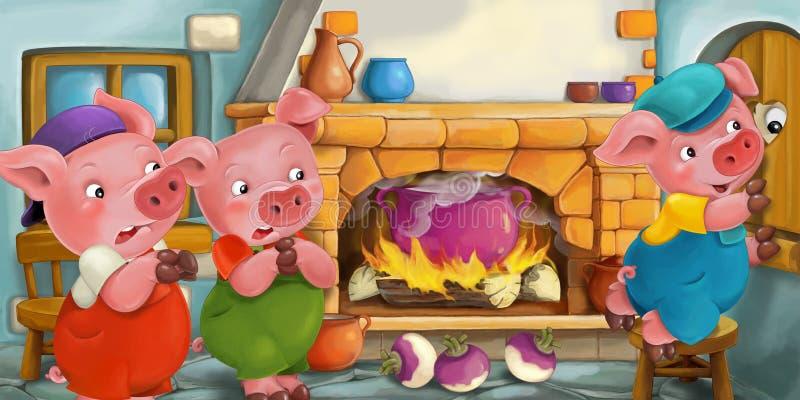 Cartoon scene vector illustration