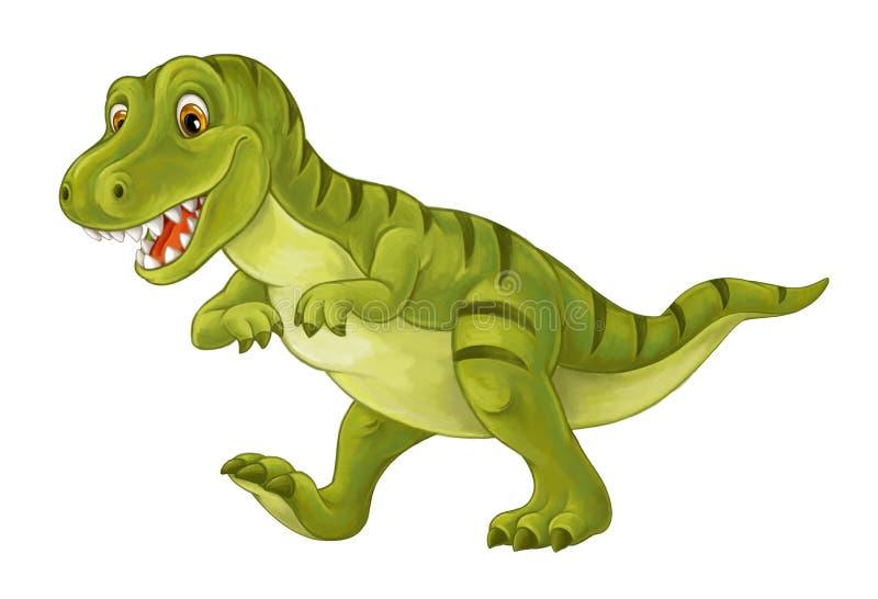 Cartoon scene with happy and funny dinosaur tyrannosaurus vector illustration