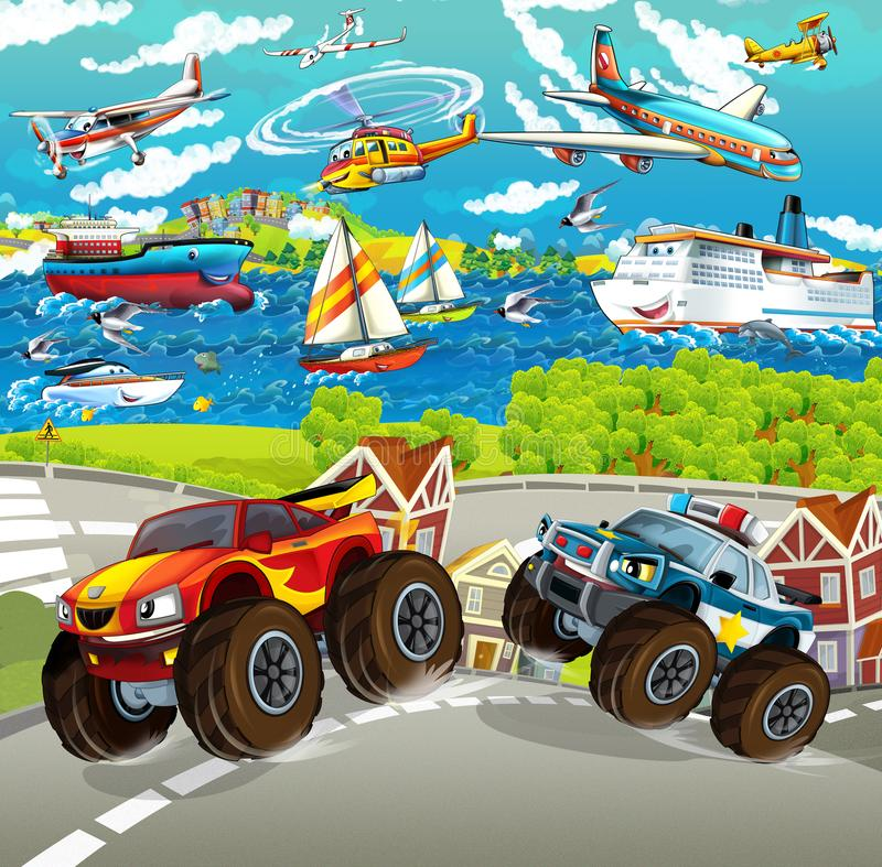 Cartoon scene with happy police monster truck - ships and planes in the background stock illustration