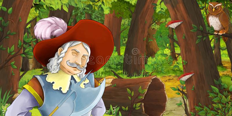 Cartoon scene with happy young boy prince chest in the forest encountering pair of owls flying. Illustration for children vector illustration