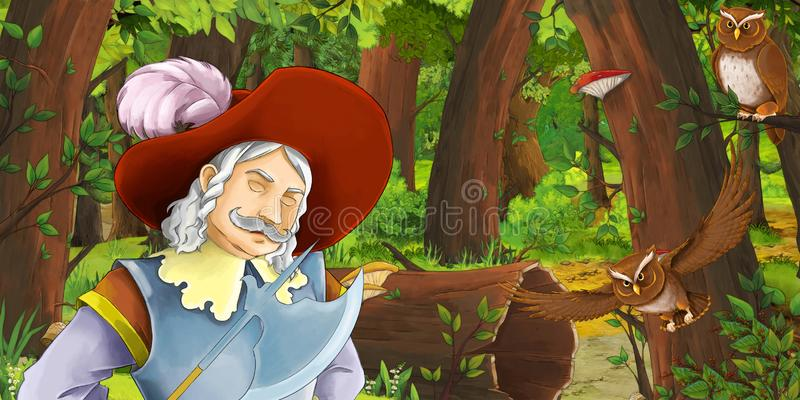 Cartoon scene with happy young boy prince chest in the forest encountering pair of owls flying. Illustration for children royalty free illustration