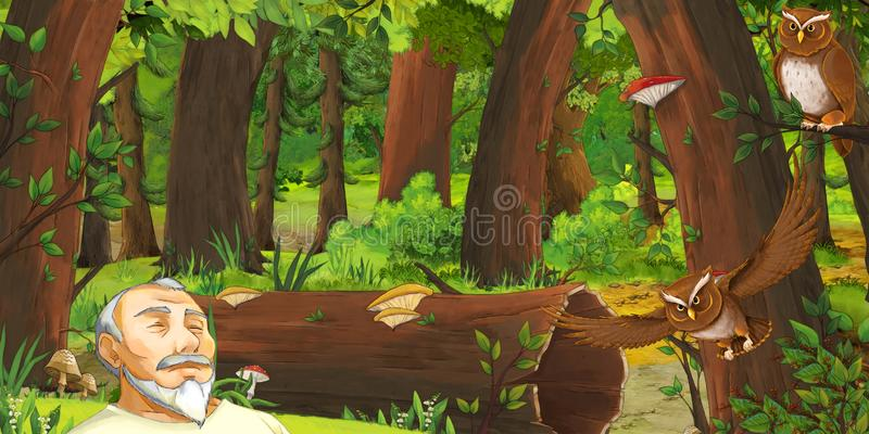 Cartoon scene with happy young boy prince in the forest encountering pair of owls flying. Illustration for children royalty free illustration