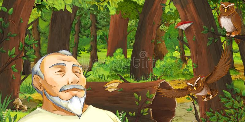 Cartoon scene with happy young boy prince in the forest encountering pair of owls flying. Illustration for children vector illustration