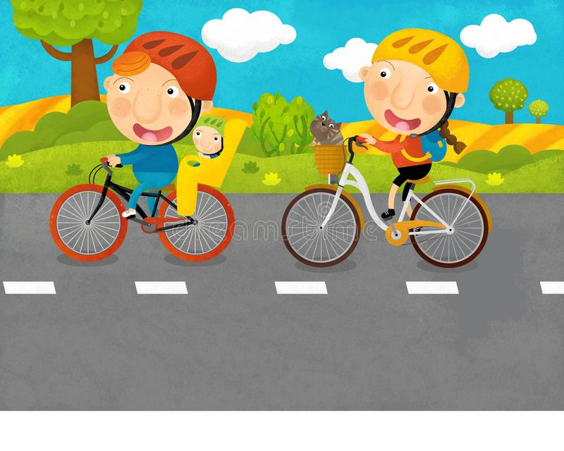 Cartoon scene with kids and parents are riding on a bicycles on the road. Illustration for children stock illustration