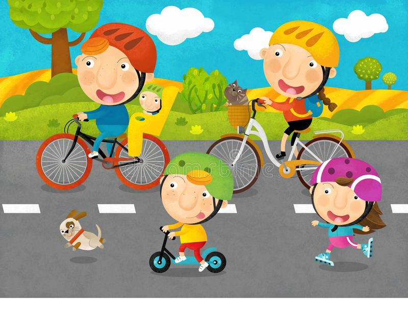 Cartoon scene with kids and parents are riding on a bicycles on the road. Illustration for children royalty free illustration