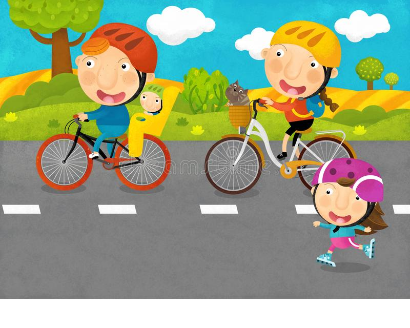 Cartoon scene with kids and parents are riding on a bicycles on the road. Illustration for children vector illustration