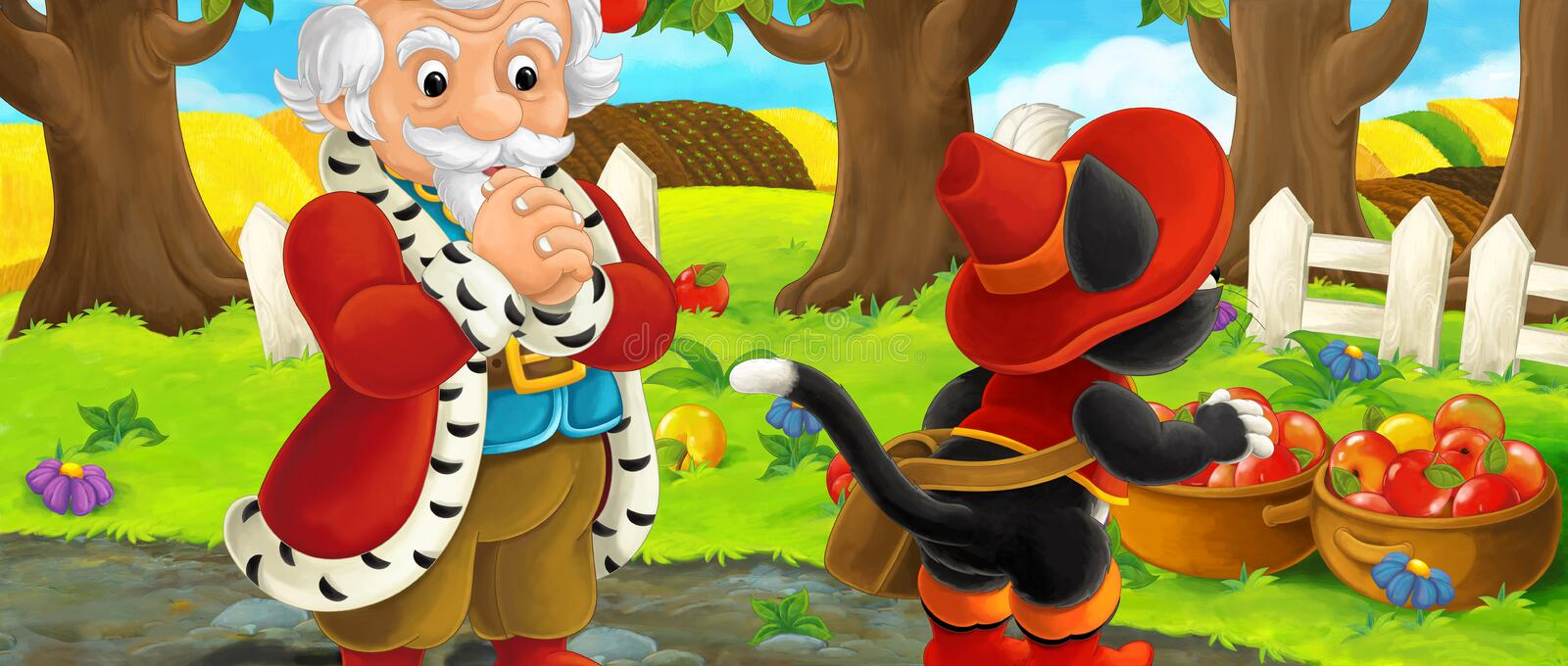 Cartoon scene with king and cat traveler visiting apple garden during beautiful day royalty free illustration