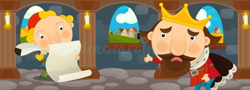 Cartoon scene - king and scribe stock illustration