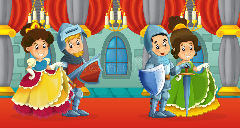 Cartoon scene with knight and lady. Beautiful and colorful illustration for the children vector illustration