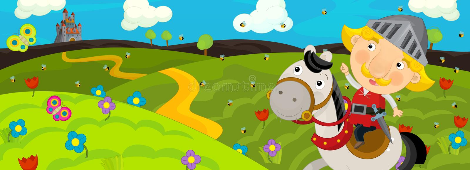 Cartoon scene of a knight traveling to a beautiful castle on a horse. Happy and funny traditional illustration for children - scene for different usage vector illustration