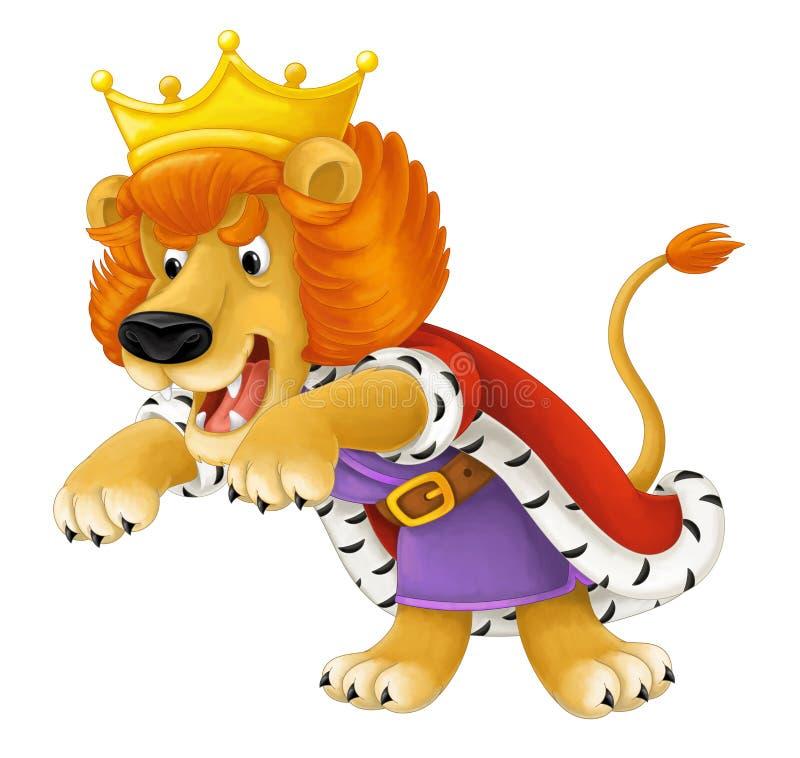 Cartoon scene of lion dressed like king - roaring - isolated vector illustration