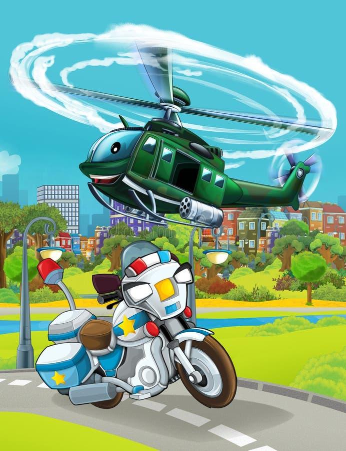Cartoon scene met auto's van de politie op de weg - illustratie royalty-vrije illustratie