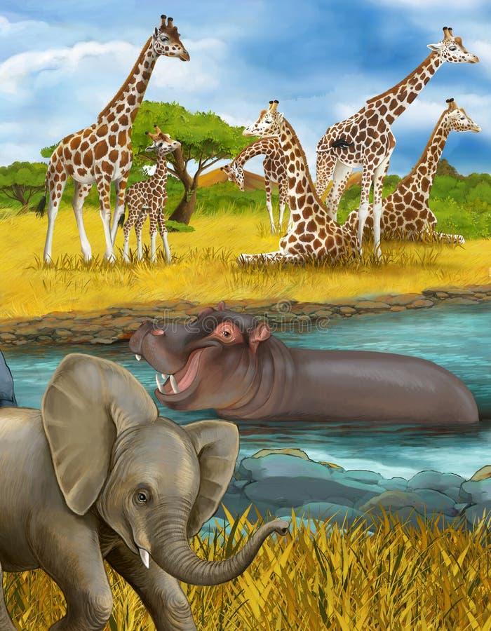 Cartoon scene met hippopotamus hippo in de rivier en olifantenillustratie voor kinderen royalty-vrije stock afbeeldingen