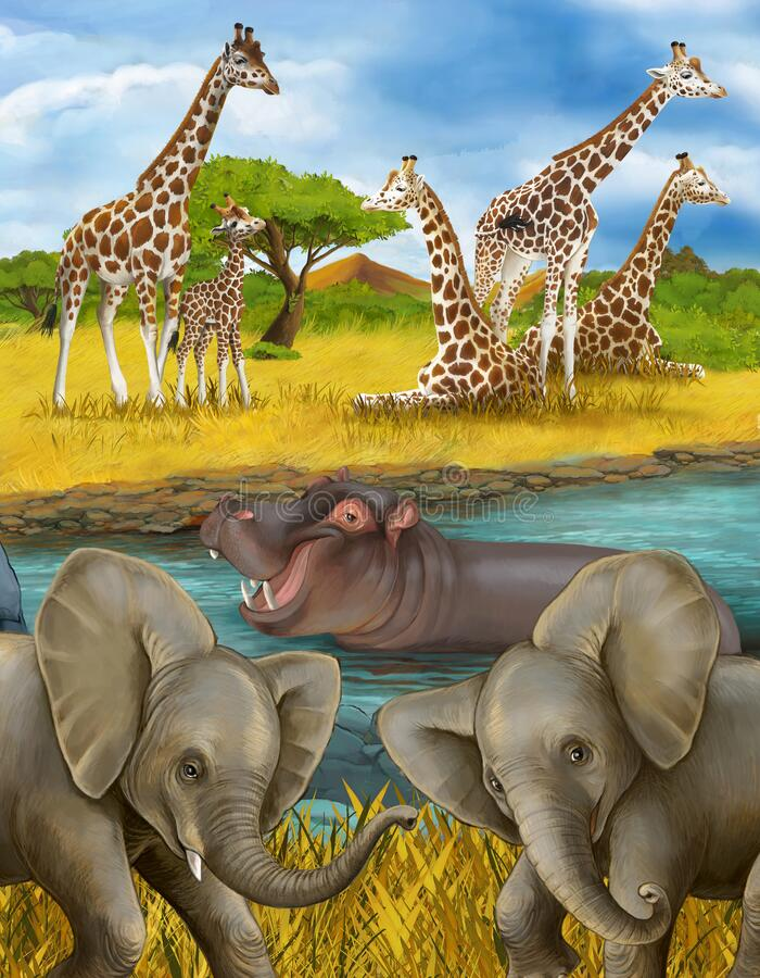 Cartoon scene met hippopotamus hippo in de rivier en olifantenillustratie voor kinderen stock afbeelding