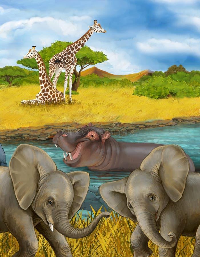 Cartoon scene met hippopotamus hippo in de rivier en olifantenillustratie voor kinderen stock fotografie