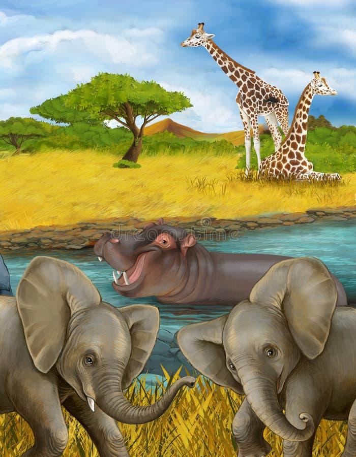 Cartoon scene met hippopotamus hippo in de rivier en olifantenillustratie voor kinderen stock afbeeldingen