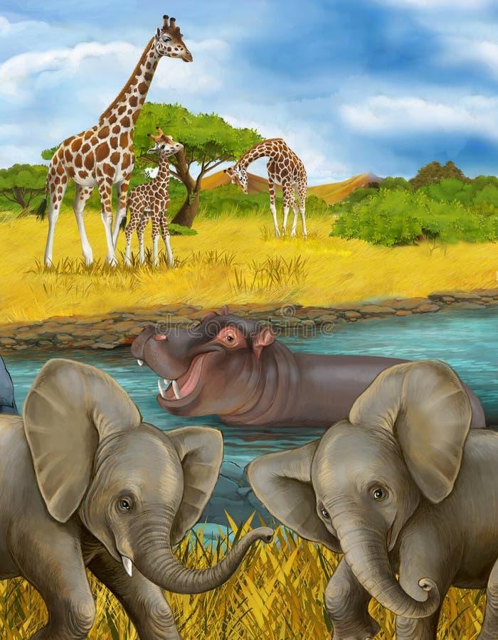 Cartoon scene met hippopotamus hippo in de rivier en olifantenillustratie voor kinderen royalty-vrije stock foto's