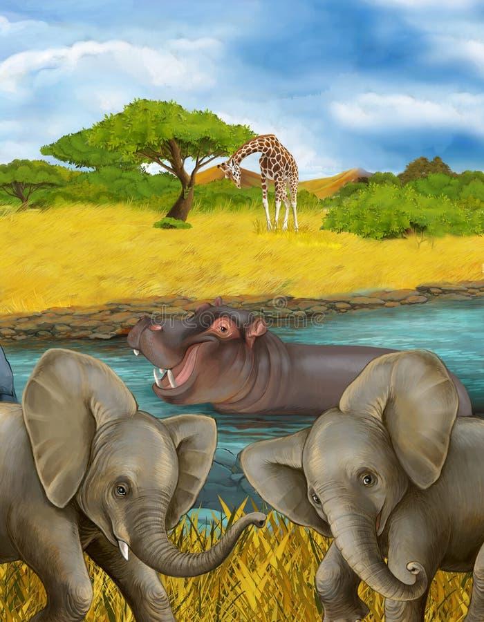 Cartoon scene met hippopotamus hippo in de rivier en olifantenillustratie voor kinderen stock foto's