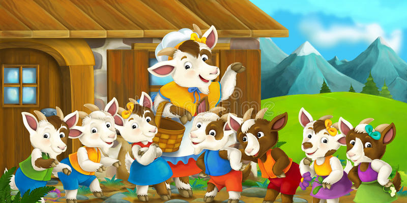 Cartoon scene with mother goat and her kids. Happy and funny traditional illustration for children - scene for different usage vector illustration