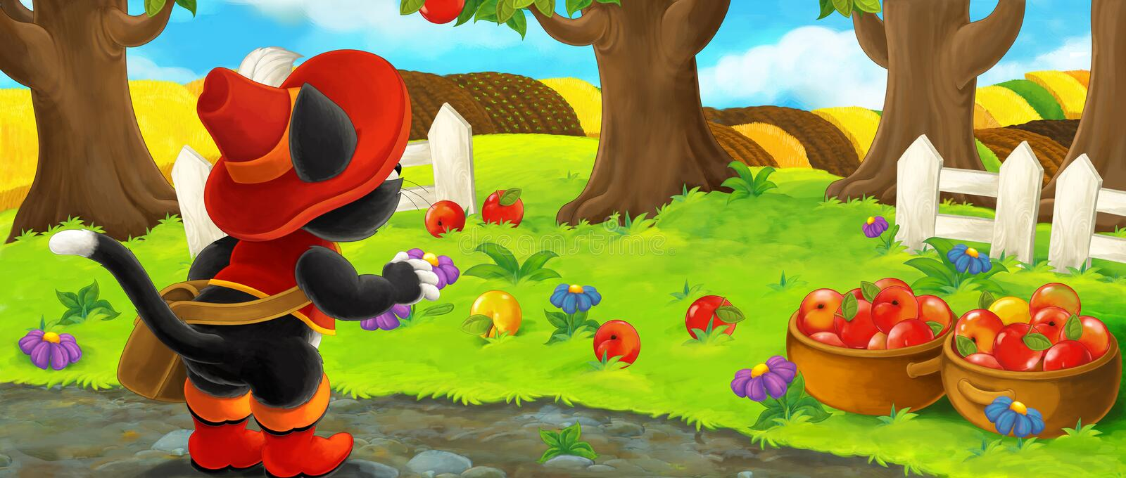 Cartoon scene with noble cat traveler visiting apple garden during beautiful day royalty free illustration