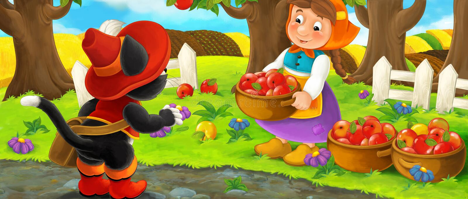 Cartoon scene with noble cat traveler visiting farm woman in garden during beautiful day stock illustration