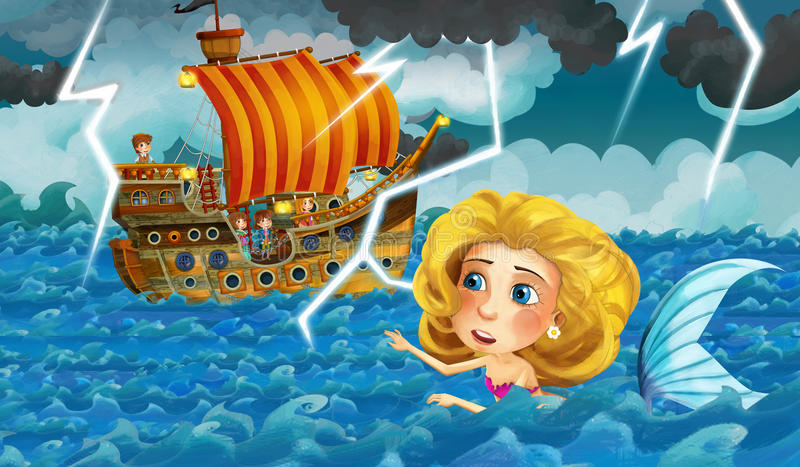 Cartoon scene with old ship sailing during storm with mermaid watching vector illustration