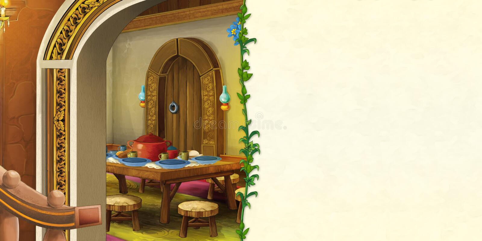 Cartoon scene with old traditional kitchen - with frame and space for text royalty free illustration