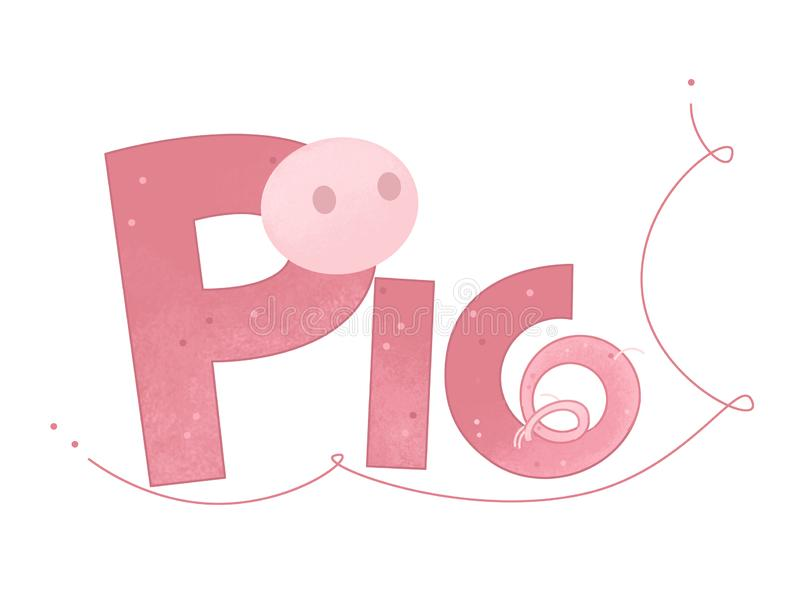 Cartoon scene with pig sign of a name on white background vector illustration