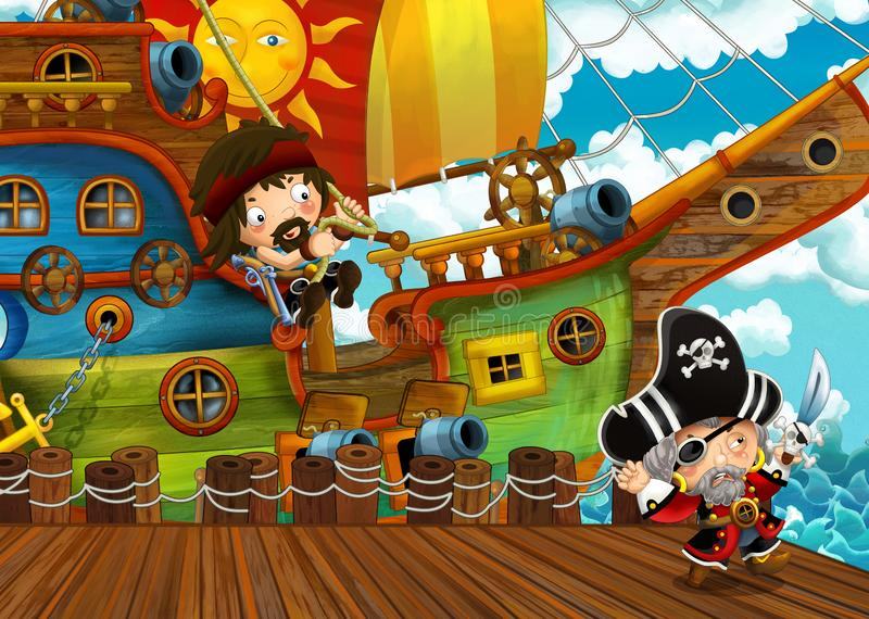 Cartoon scene with pirate sailing ship docking in a harbor royalty free stock photography