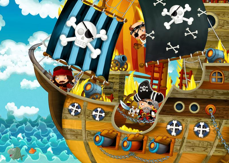 Cartoon scene with pirate ship sailing through the seas with scary pirates - deck is burning during battle vector illustration