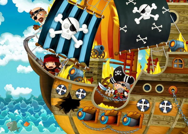 Cartoon scene with pirate ship sailing through the seas with scary pirates - deck is burning during battle stock illustration