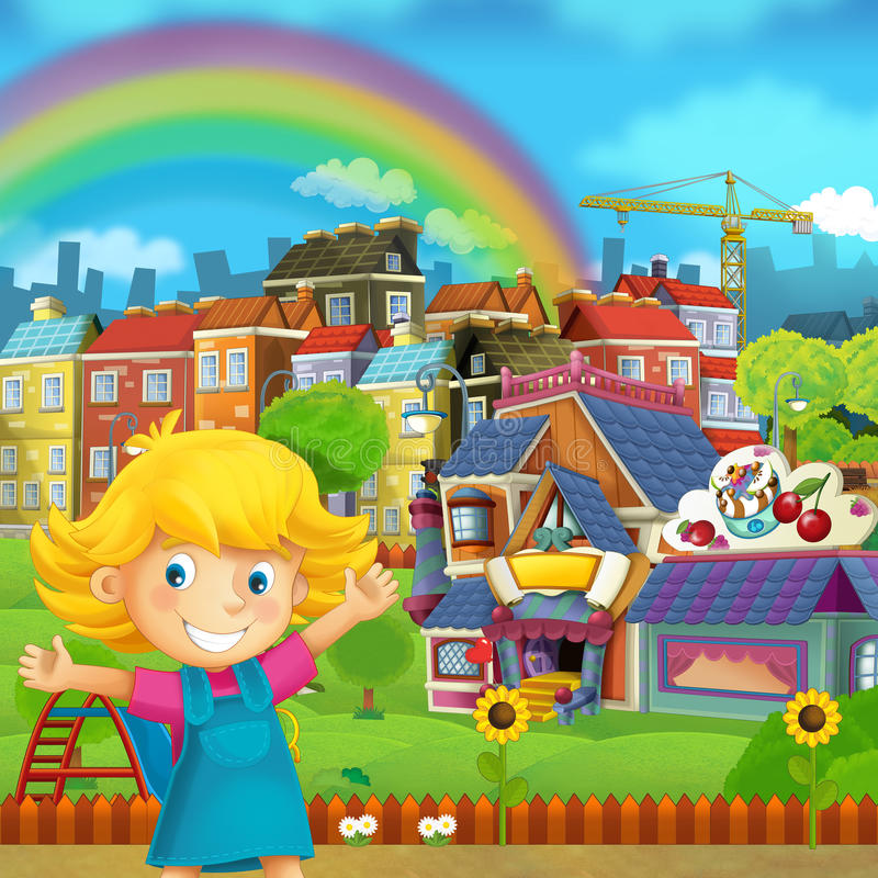Cartoon scene of playground and kid in front of a colorful building candy shop - illustration for children royalty free illustration