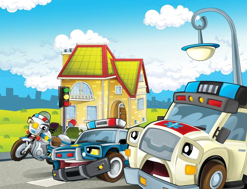 Cartoon scene with police car motor and policeman on patrol and ambulance vector illustration