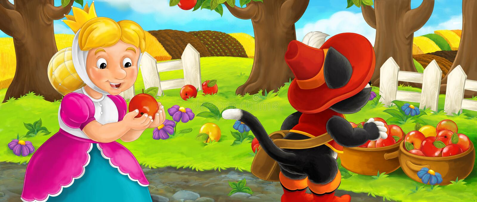 Cartoon scene with queen and cat traveler visiting apple garden during beautiful day stock illustration