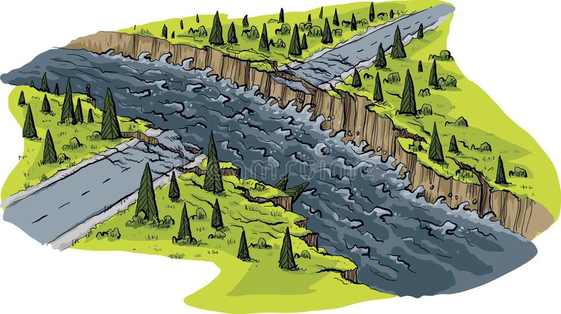 Flood Ravaged Road. A cartoon scene of a road that has been washed out by raging flood waters royalty free illustration