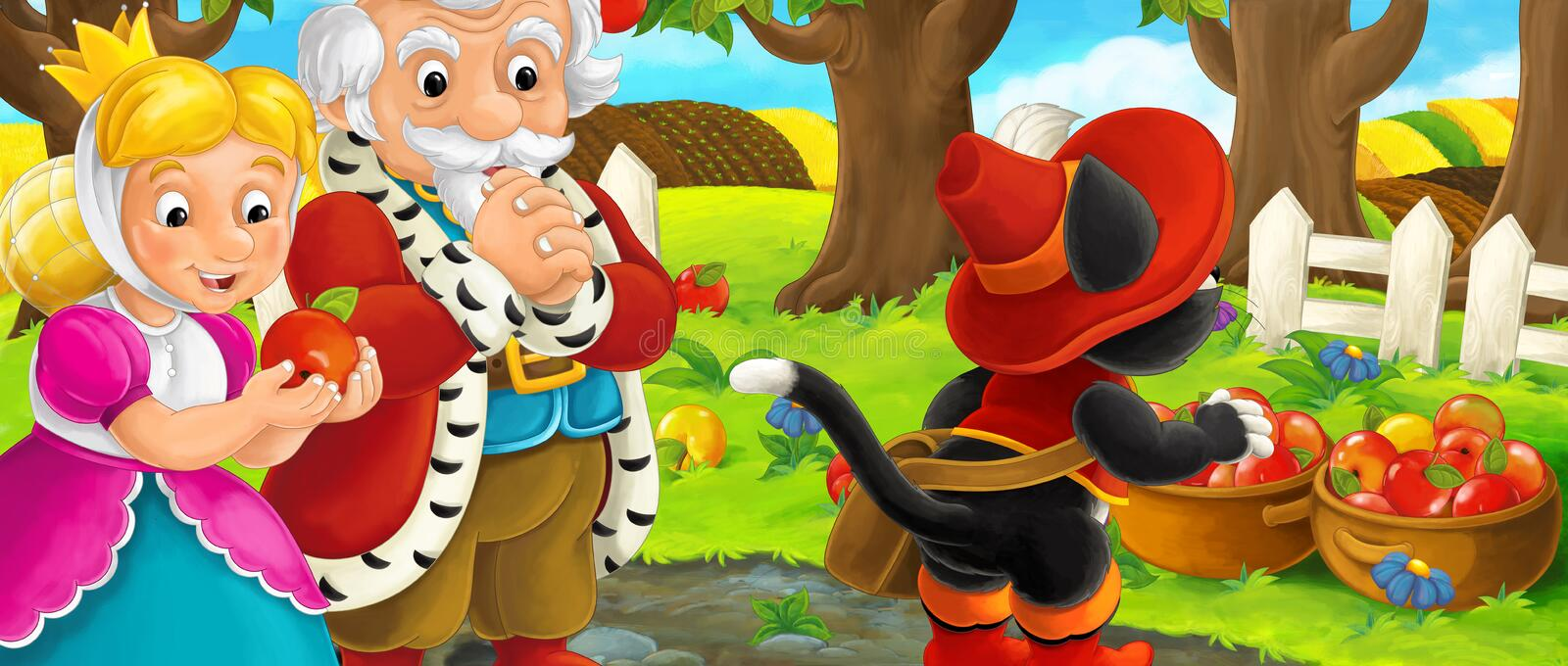 Cartoon scene with royal pair and cat traveler visiting apple garden during beautiful day stock illustration