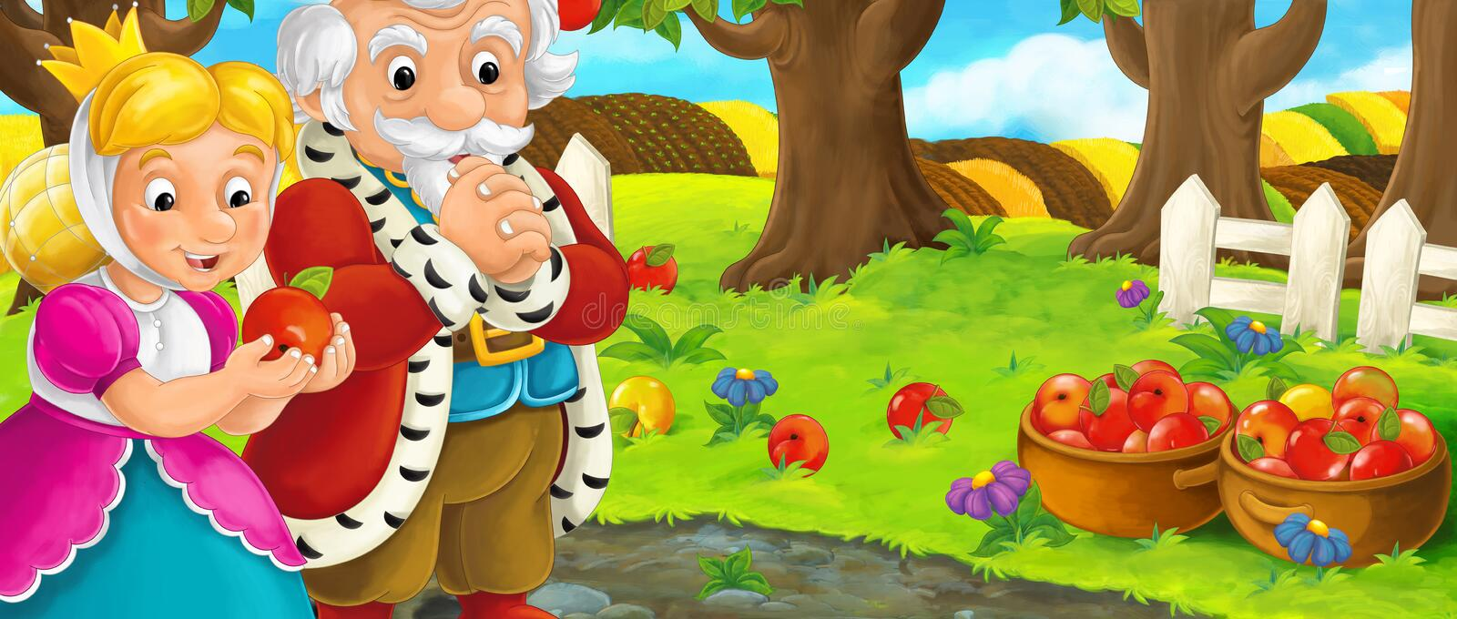 Cartoon scene with royal pair visiting farm garden during beautiful day royalty free illustration