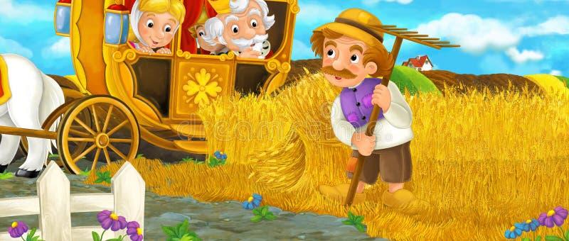 Cartoon scene with royal pair visiting farmer stock illustration
