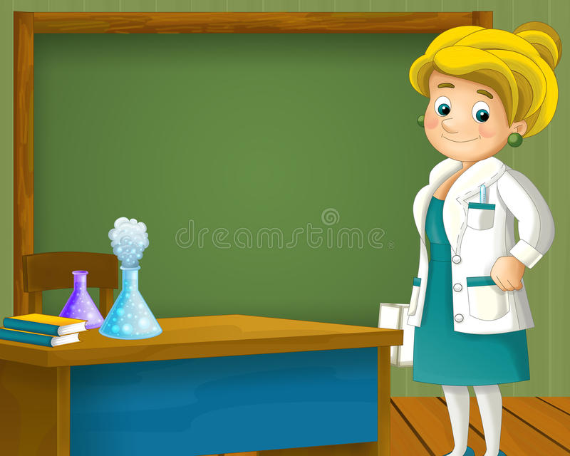 Cartoon scene with scientist woman standing near the blackboard. Beautiful and colorful illustration for the children - for different usage - for fairy tales royalty free illustration