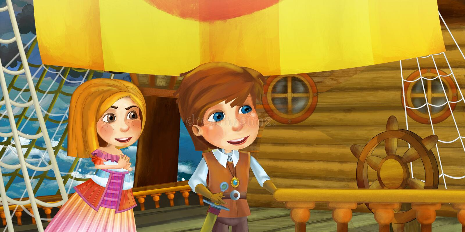 Cartoon scene on the ship - prince with his guest - lady princess - captain. Happy and funny traditional scene for different usage - for different fary tales royalty free illustration