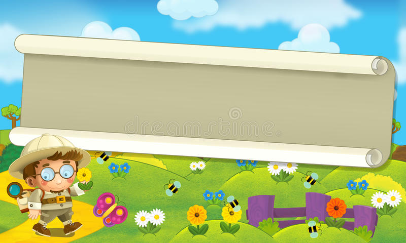 Cartoon scene with some happy traveler - scenery stock illustration