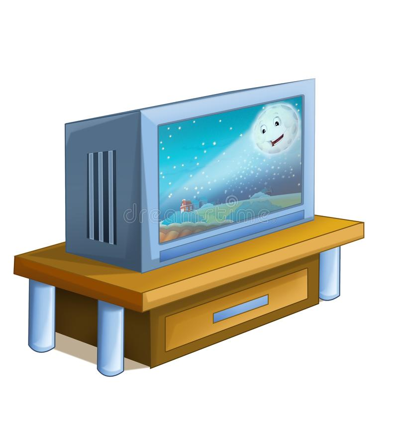 Cartoon scene with television device turned on. Illustration for children royalty free illustration
