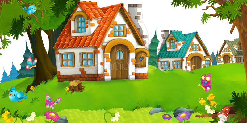 Cartoon scene of traditional house near the forest. Happy and funny traditional illustration for children - scene for different usage stock illustration