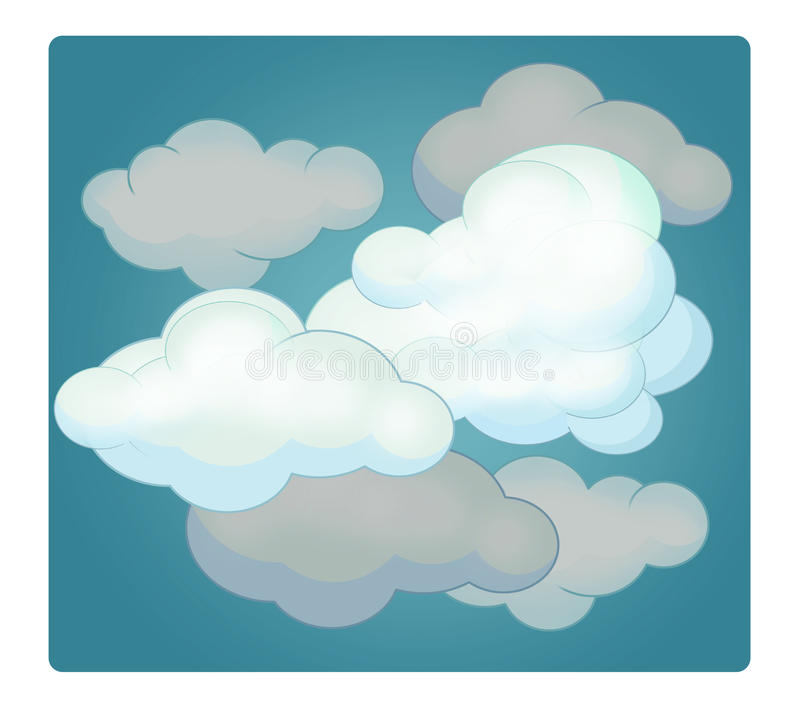 cartoon scene with weather cloudy stock illustration