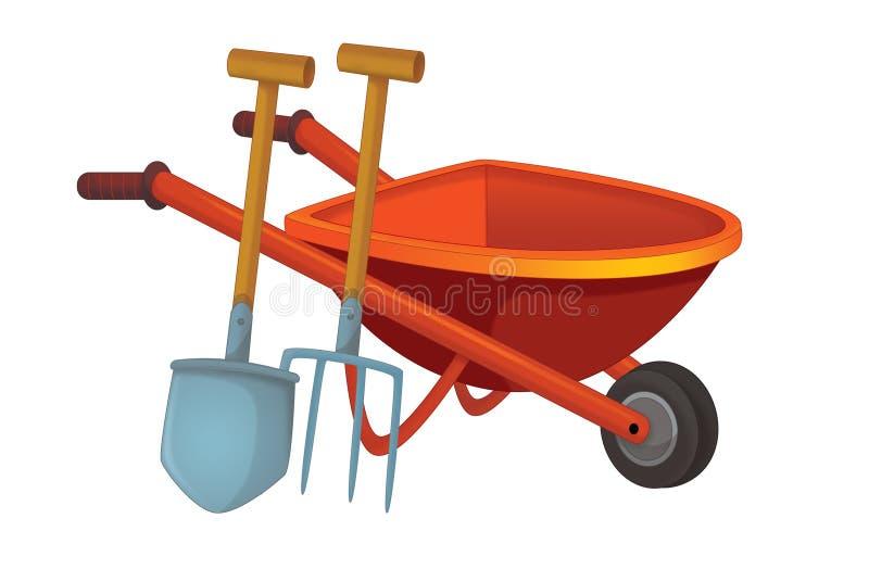 Cartoon scene with wheelbarrow with gardenin or farm tool stock illustration