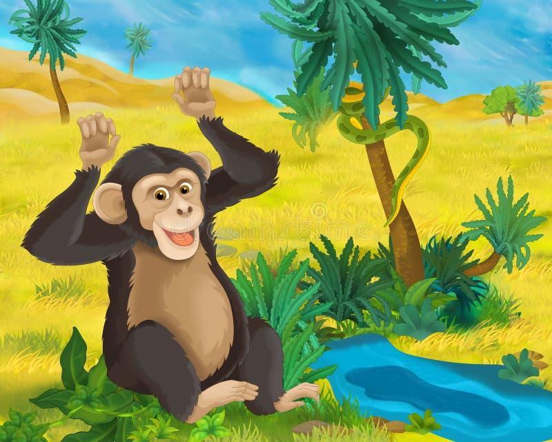 Cartoon scene - wild africa animals - ape stock illustration