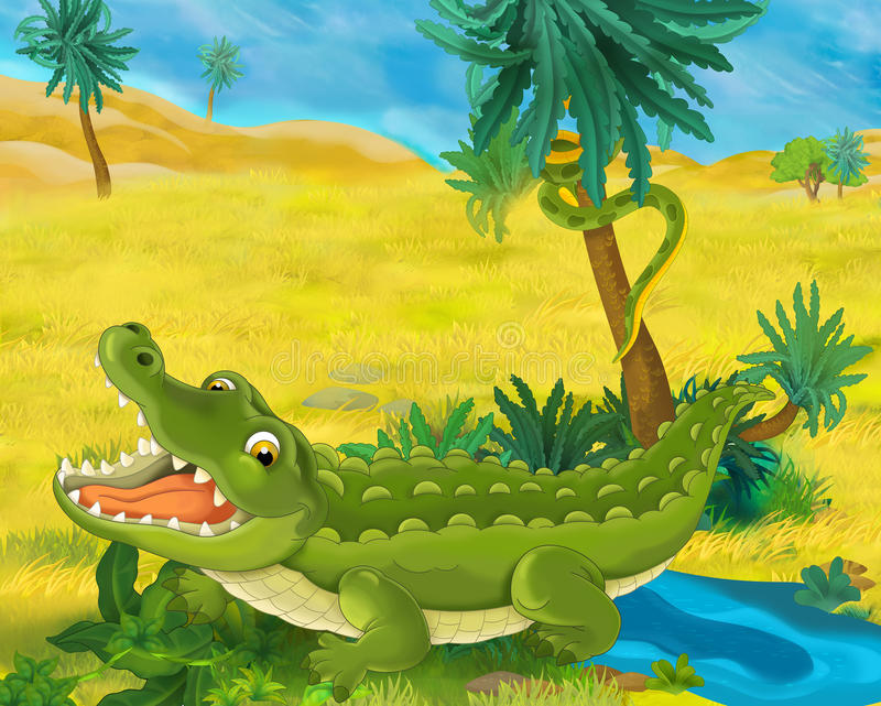 Cartoon scene - wild africa animals - crocodile royalty free illustration