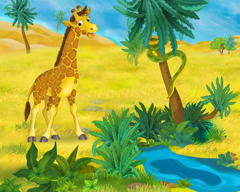 Cartoon scene - wild africa animals - giraffe stock illustration